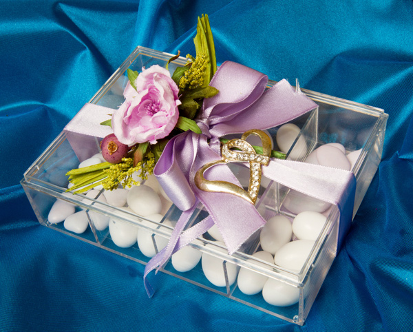 sugared almonds and flower favour