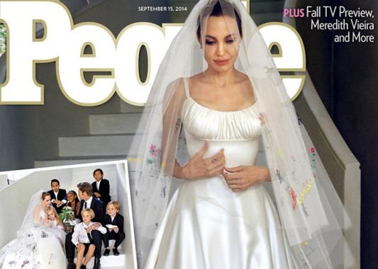 PICTURED: Angelina in her Versace wedding dress