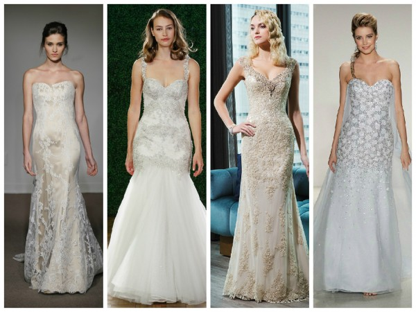 Silver and gold wedding dresses
