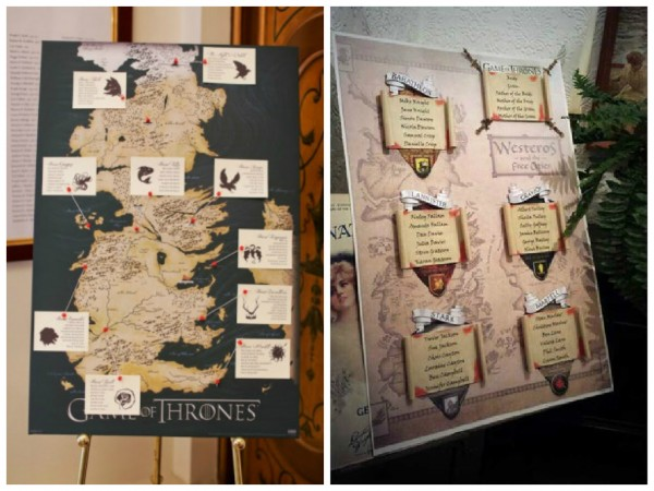game of thrones themed wedding table plans