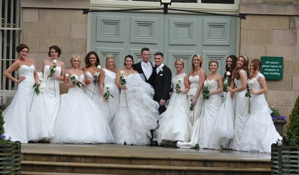 Bridesmaids wear white at Kieron Richardson's wedding