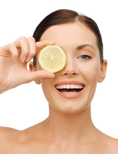 natural home-made beauty products, woman with lemon