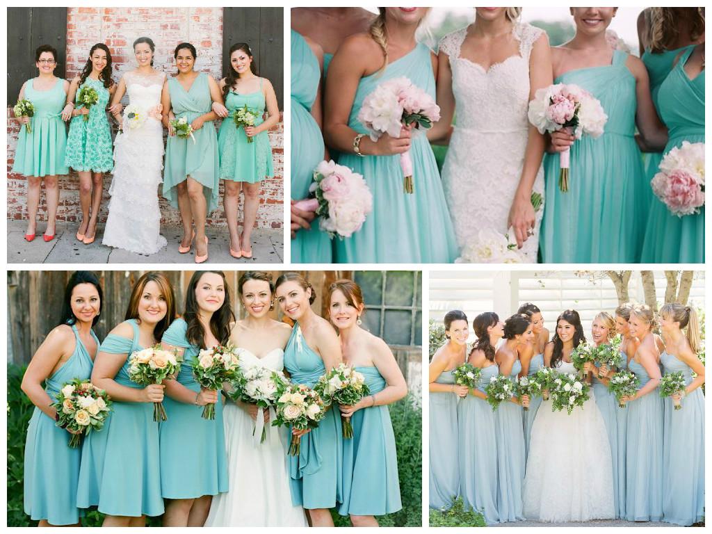 Aquamarine bridesmaid collage