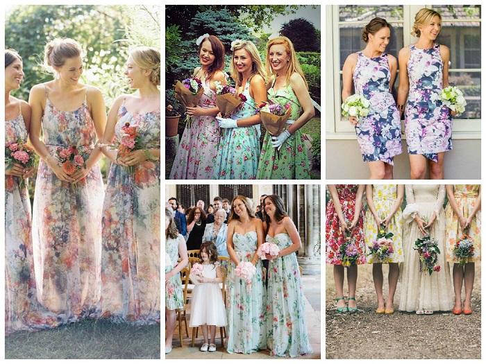 Floral bridesmaid dresses collage