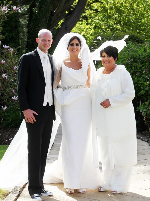 bride, groom and mob