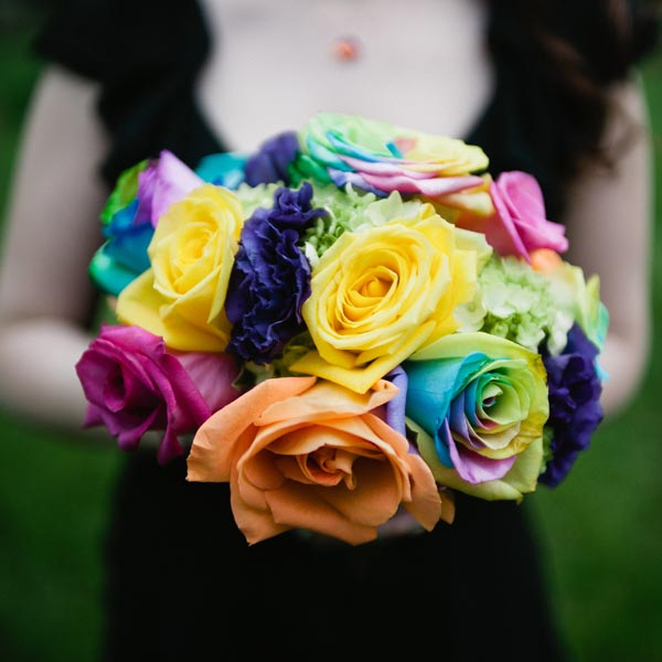Rainbow wedding ideas bouquet Bridalguide.com
