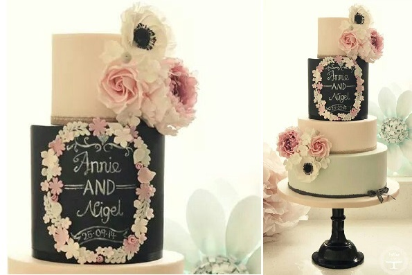 chalkboard wedding cake by Cotton Lamp; Crumbs