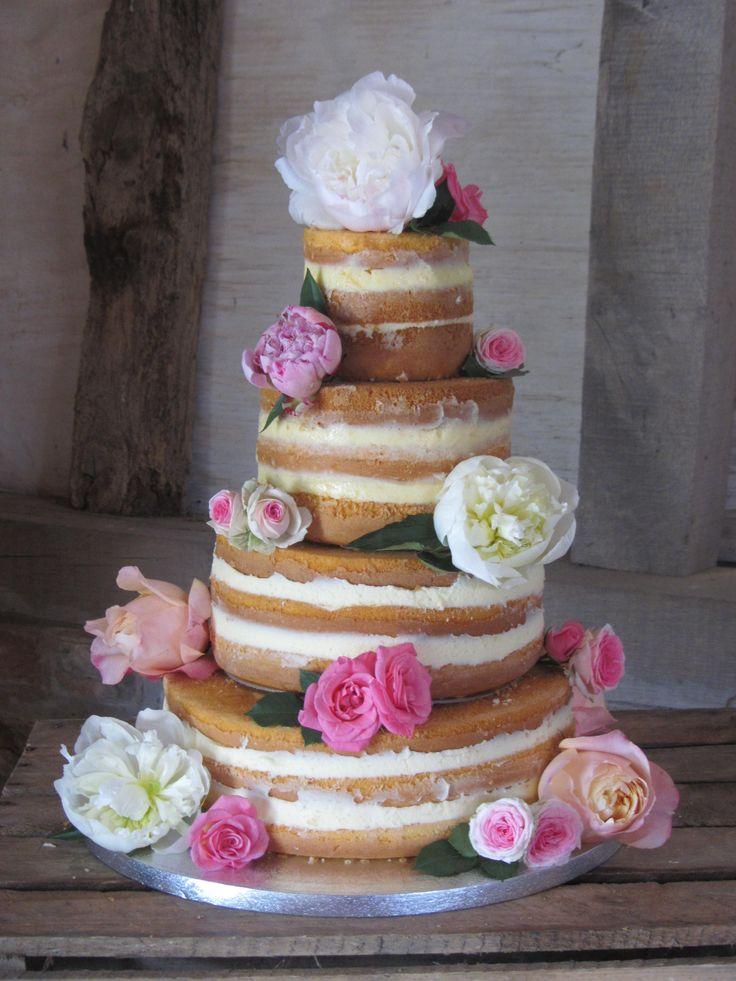 Naked wedding cake with peonies. Pinterest