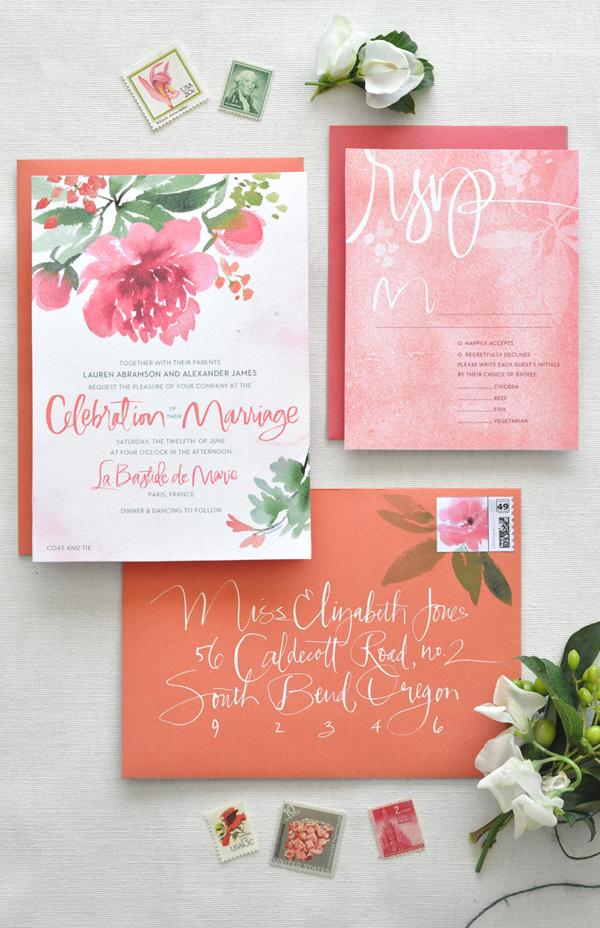 Peony invitations Ohsobeautifulpaper.com