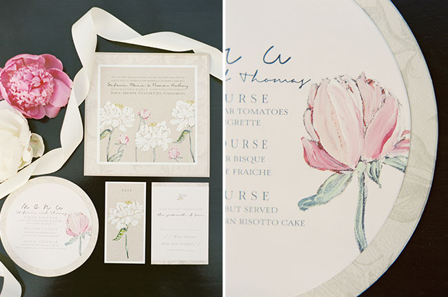 Peony wedding stationery Greenweddingshoes.com