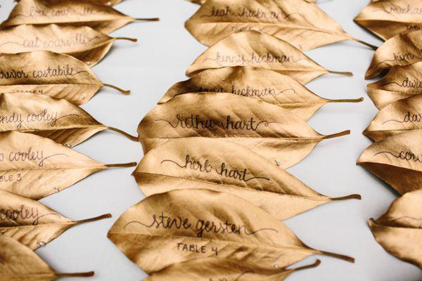 gold leaf name cards - simplypeachy.com