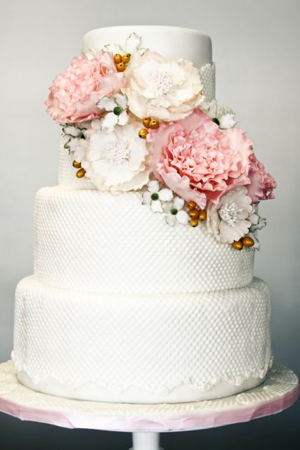 peonies-white-wedding-cake-ideas Brides.com