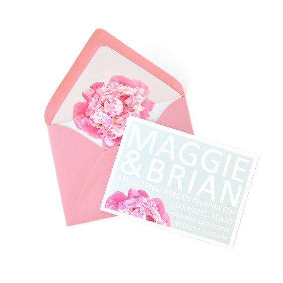 Pink peony wedding invitation. Weddbook.com