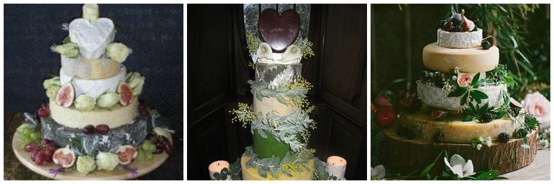 woodland wedding cake collage