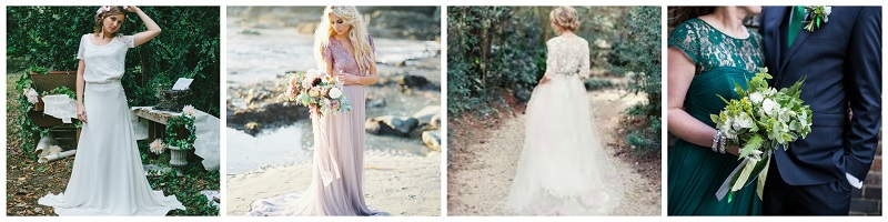 woodland wedding dress collage