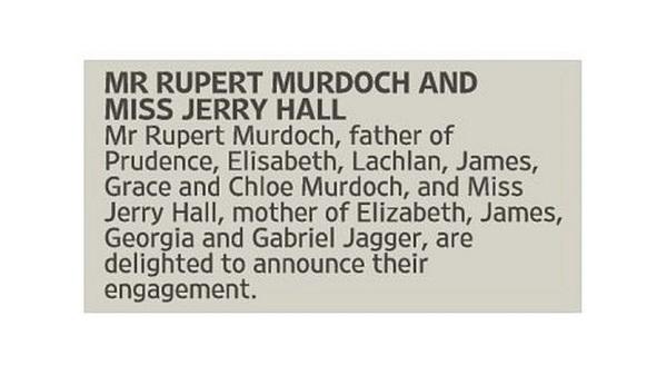 Rupert Murdoch and Jerry Hall announce their engagement