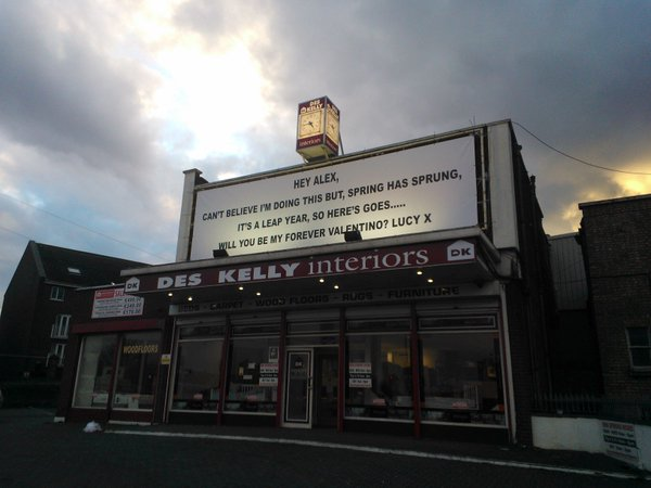 A brave woman in Dublin proposed with a giant billboard