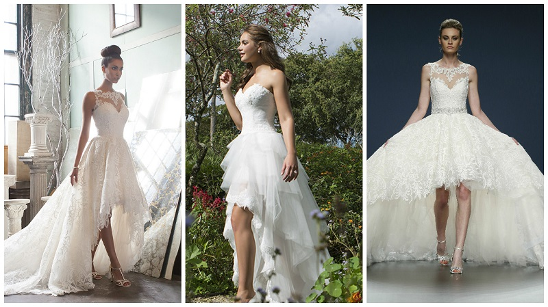 High low hemlines top 23 asymmetrical wedding dresses for Wedding dresses asymmetrical hemline
