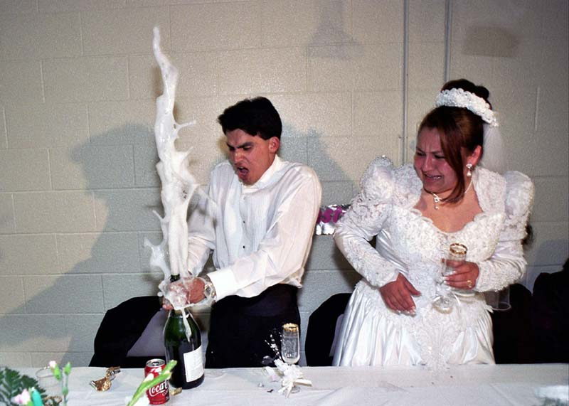 Wedding day fails champagne