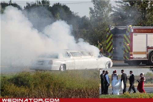 Wedding day fails car
