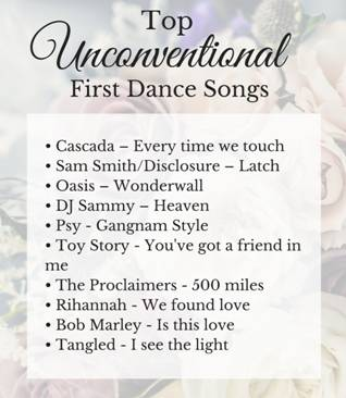 top unconventional first dance songs