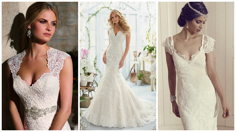 Top 20 wedding dresses with the queen anne neckline for Queen anne neckline wedding dress