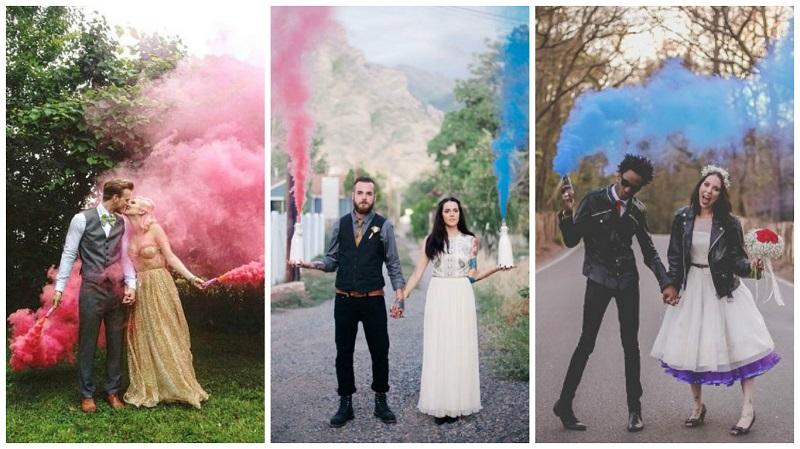 Smoke bomb wedding photos 2
