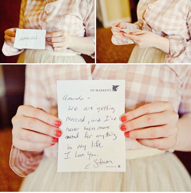 wedding picture hand written note