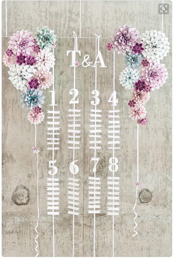 Ribbon table plan from Wedding Chicks