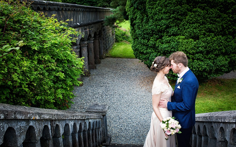 bride and groom at belleek castle
