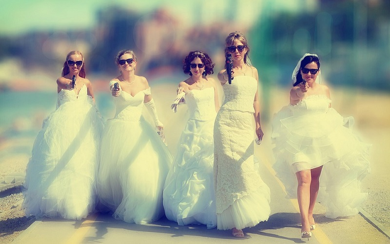 bridesmaids with guns