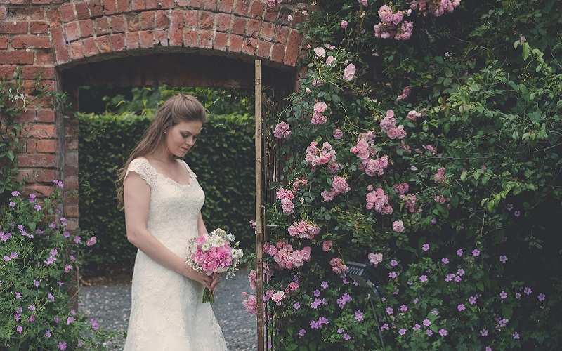 bride and rose bush