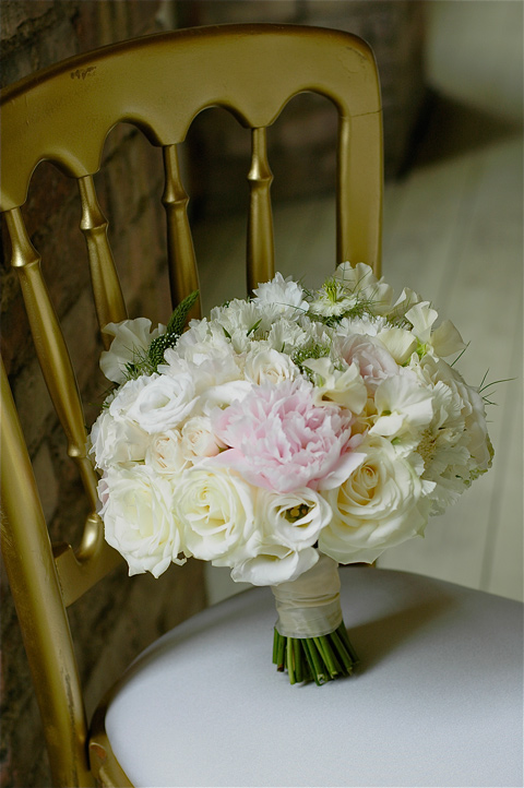 Soft hand tied mix of sweet peas, peonies, roses, lysianthus, scabiosa and nigella