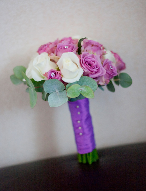 Hand tied bouquet with akito and coolwater roses, eucalyptus and diamante