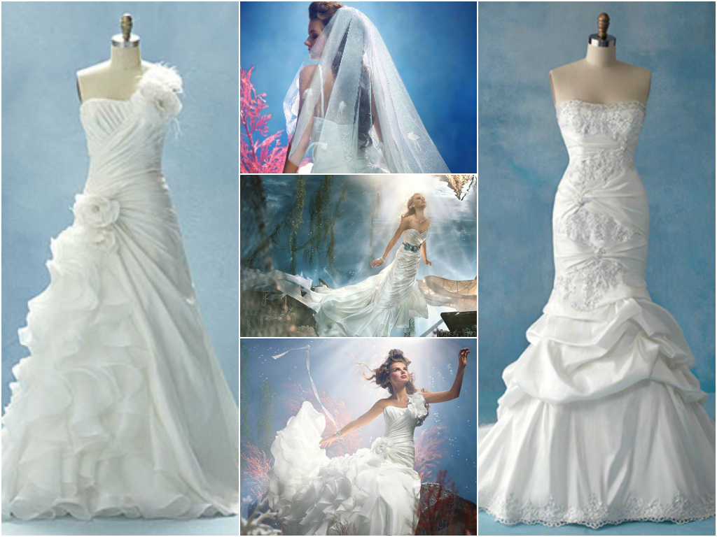 Disney princess bridal gowns for Princess mermaid wedding dresses