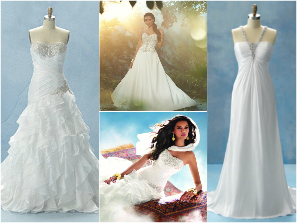 Rapunzel Long Draping That Twirls Around The Skirt Of These Bridal Gowns