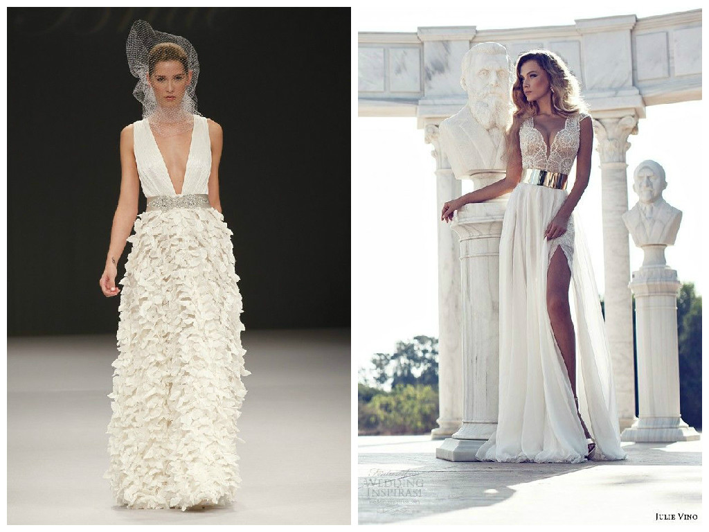 Wedding dresses for the top heavy bride for Plunge neck wedding dress