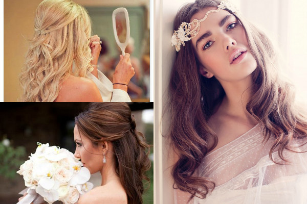 bridal long hair collage