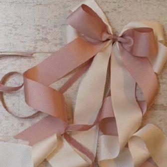 pink and cream ribbon bow