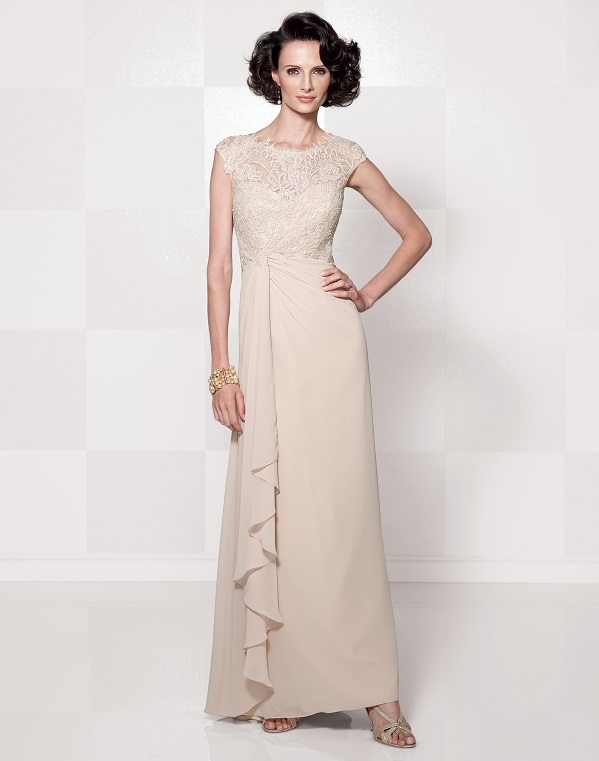 2.Chiffon mock-wrap dress with hand beaded lace, style 114664, Cameron Blake