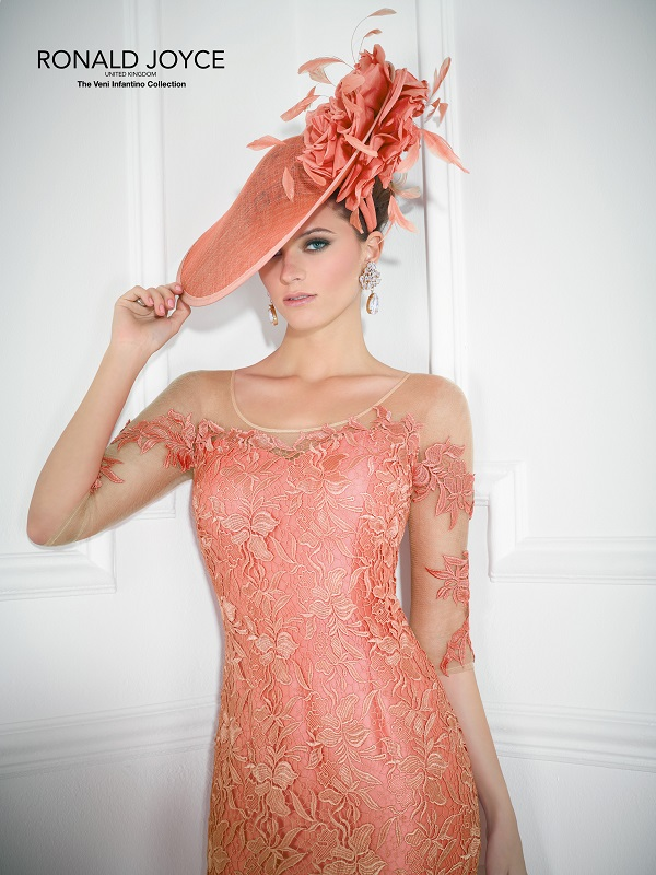 Coral lace, satin and tulle dress, style 99122 Veni Infantino
