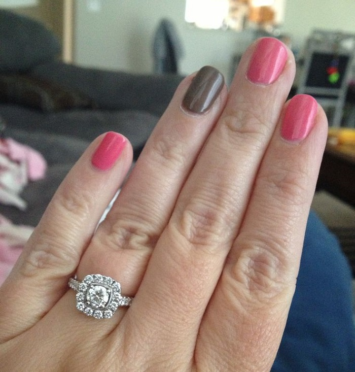 engagement ring and manicure