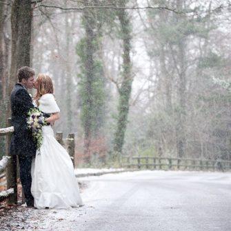 winter wedding scene