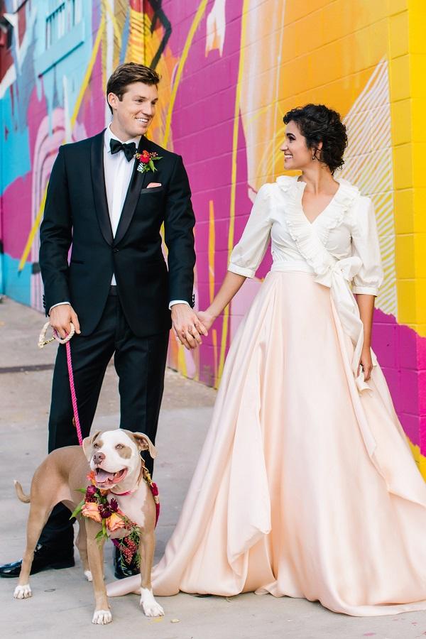 colourful city wedding