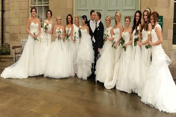 bridesmaid waering wedding dresses at Kieron Richardson's wedding
