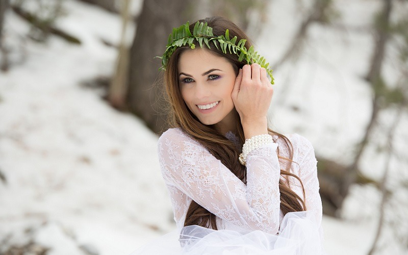 bride in a winter forest