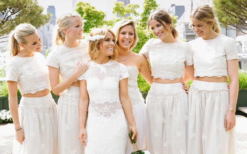 bridesmaids in white crop tops
