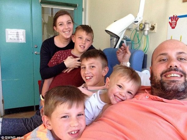 groom who nearly died in hospital bed