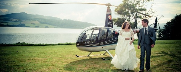 wedding transport helicopter