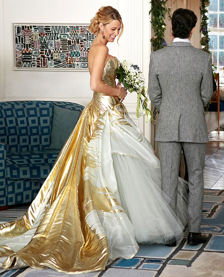 Blake Lively Wearing A Gold Wedding Dress